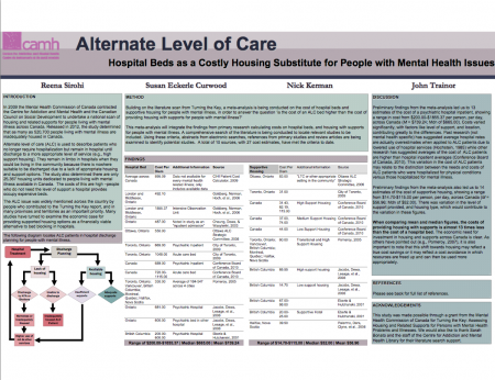 Alternate Level of Care: Hospital Beds as a Costly Housing Substitute for People with Mental Health Issues by  Reena Sirohi, Susan Eckerle Curwood, Nick Kerman & John Trainor