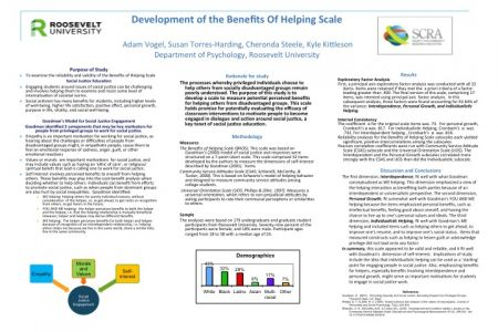 Development of the Benefits Of Helping Scale  by  Adam Vogel, Susan Torres-Harding, Cheronda Steele, & Kyle Kittleson